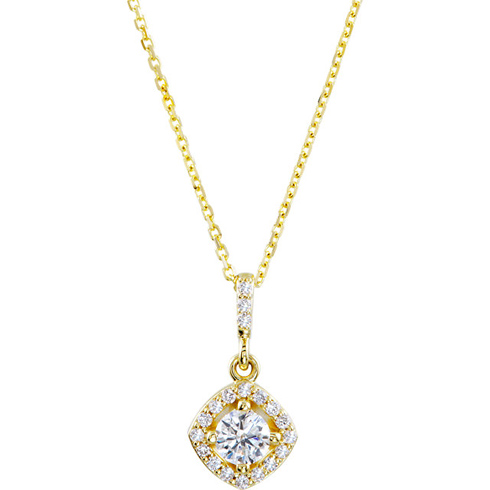 14kt Yellow Gold Halo 3/8 ct Diamond Necklace