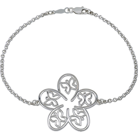 7 1/2in Sterling Silver Floral & Butterfly Design Bracelet