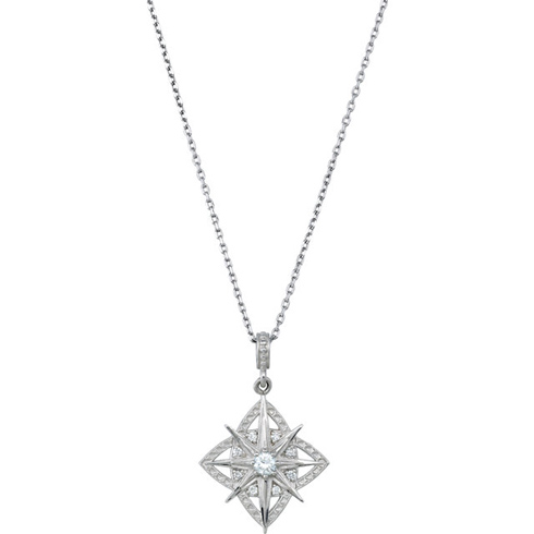 Sterling Silver 1/6 ct Diamond Vintage Inspired Star Necklace