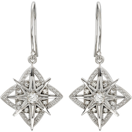 1/3 CT TW Vintage Inspired Star Earrings in Sterling Silver