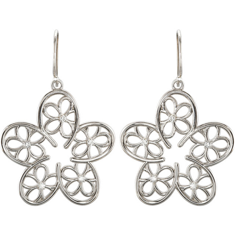 Sterling Silver 1/6 ct tw Diamond Floral Earrings