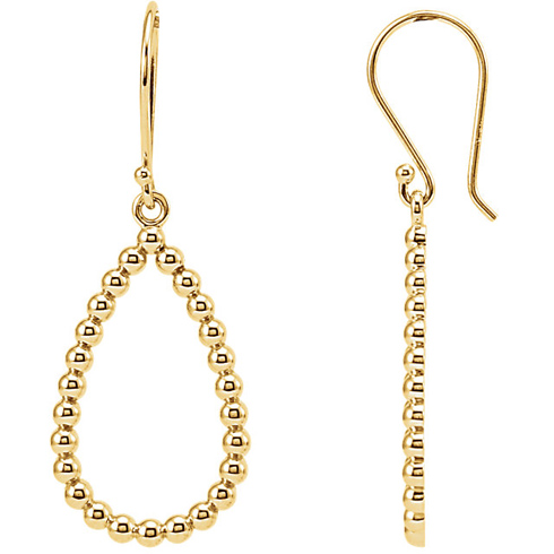 14kt Yellow Gold 7/8in Beaded Teardrop Dangle Earrings