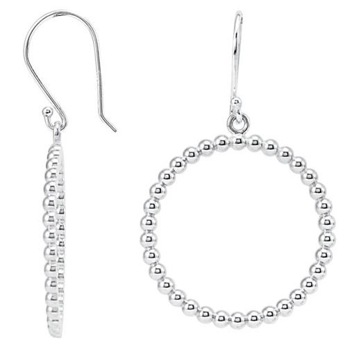 14kt White Gold 7/8in Beaded Round Dangle Earrings