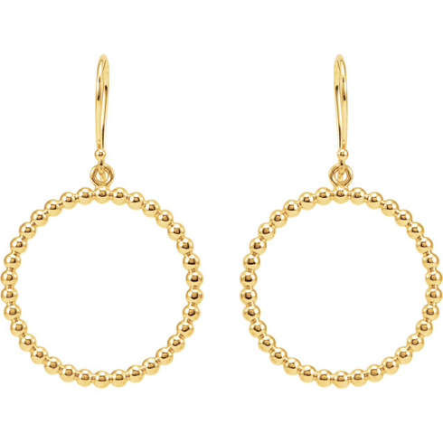 14kt Yellow Gold 7/8in Beaded Round Dangle Earrings