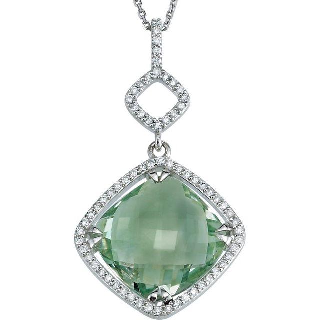 Sterling Silver Square Green Quartz and Diamond Necklace