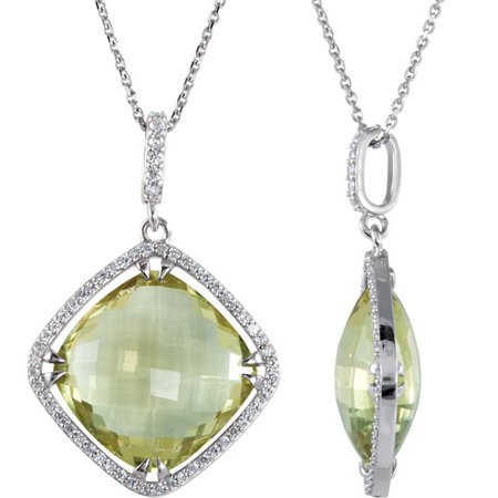 Sterling Silver Square Lemon Quartz and Diamond Necklace