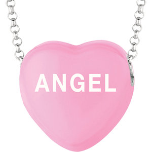 Sterling Silver Dark Pink Angel Sweethearts 16in Necklace