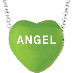 Sterling Silver Green Love Angel Sweethearts 16in Necklace