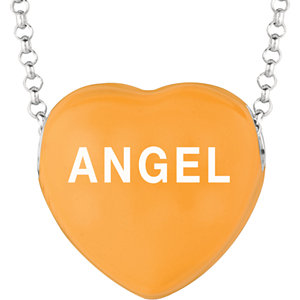 Sterling Silver Orange Angel Sweethearts 16in Necklace