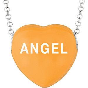 Sterling Silver Orange Angel Sweethearts 16in Necklace