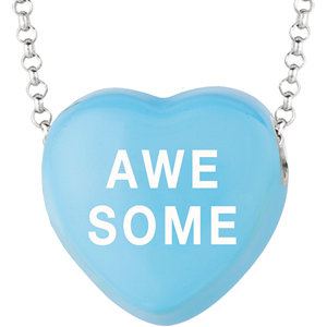 Sterling Silver Blue Awesome Sweethearts 16in Necklace
