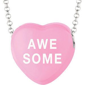 Sterling Silver Dark Pink Awesome Sweethearts 16in Necklace