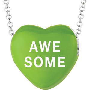 Sterling Silver Green Love Awesome Sweethearts 16in Necklace