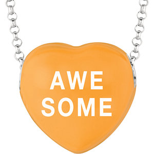 Sterling Silver Orange Awesome Sweethearts 16in Necklace