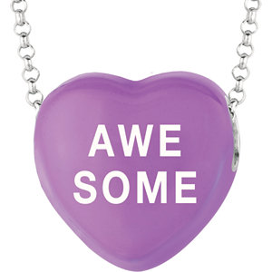 Sterling Silver Purple Awesome Sweethearts 16in Necklace