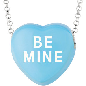Sterling Silver Blue Be Mine Sweethearts 16in Necklace