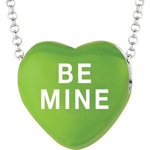 Sterling Silver Green Love Be Mine Sweethearts 16in Necklace