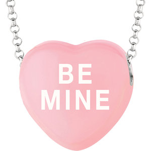 Sterling Silver Light Pink Be Mine Sweethearts 16in Necklace