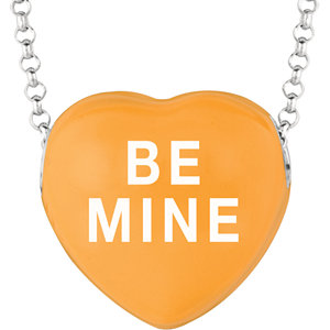 Sterling Silver Orange Be Mine Sweethearts 16in Necklace