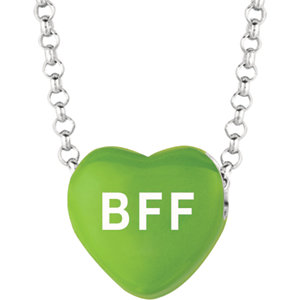 Sterling Silver Green Love BFF Sweethearts 16in Necklace
