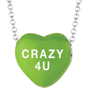 Sterling Silver Green Love Crazy 4 U Sweethearts 16in Necklace