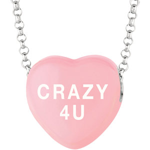 Sterling Silver Light Pink Crazy 4 U Sweethearts 16in Necklace