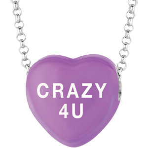 Sterling Silver Purple Crazy 4 U Sweethearts 16in Necklace