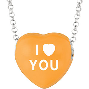 Sterling Silver Orange I Heart You Sweethearts 16in Necklace