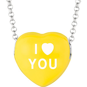 Sterling Silver Yellow I Heart You Sweethearts 16in Necklace