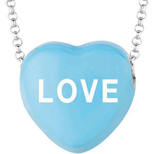 Sterling Silver Blue Love Sweethearts 16in Necklace