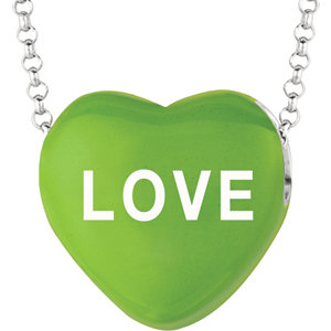 Sterling Silver Green Love Sweethearts 16in Necklace