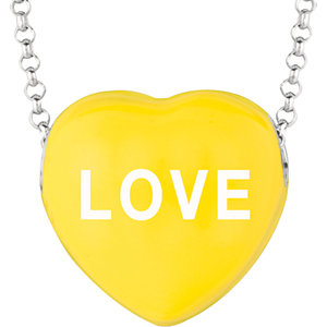 Sterling Silver Yellow Sweethearts Love 16in Necklace