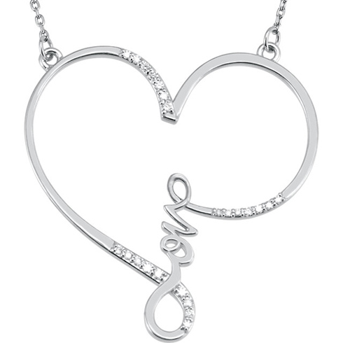 Sterling Silver 1/8 ct Diamond Love Heart 18in Necklace