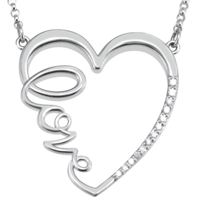 Sterling Silver 1/6 ct Diamond Heart Love 18in Necklace