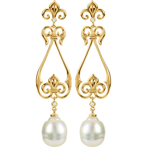 14kt Yellow Gold South Sea Cultured Pearl Fleur De Lis Earrings