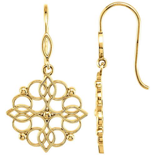 14kt Yellow Gold Fancy Deco Dangle Earrings
