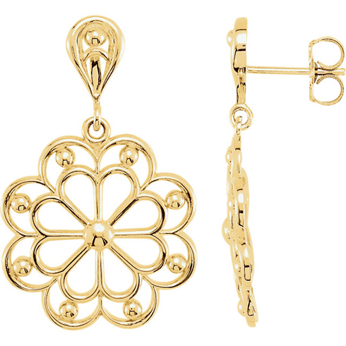 14kt Yellow Gold Decorative Dangle Earrings