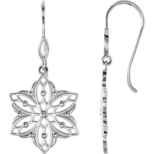 14kt White Gold Beaded Flower Dangle Earrings