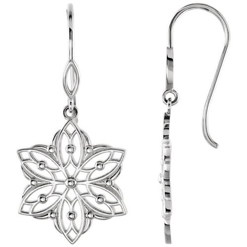 14kt White Gold Beaded Flower Dangle Earrings