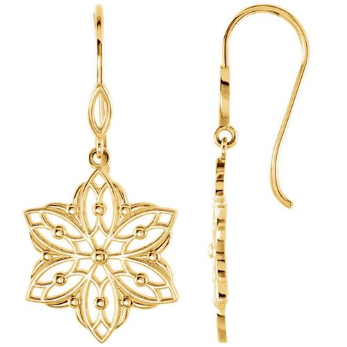 14kt Yellow Gold Beaded Flower Dangle Earrings