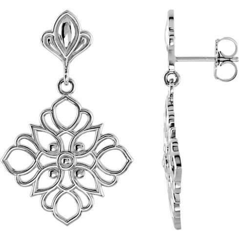 14kt White Gold 1in Deco Flower Dangle Earrings
