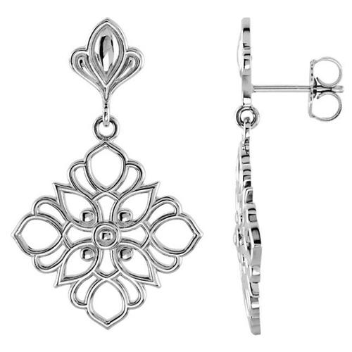 14kt White Gold 1in Deco Flower Dangle Earrings