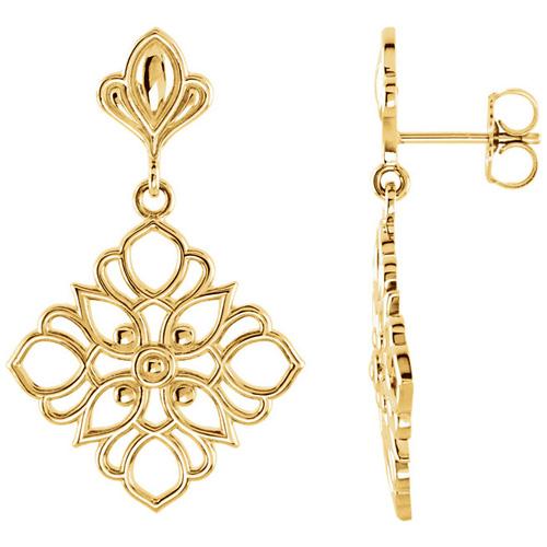 14kt Yellow Gold 1in Deco Flower Dangle Earrings