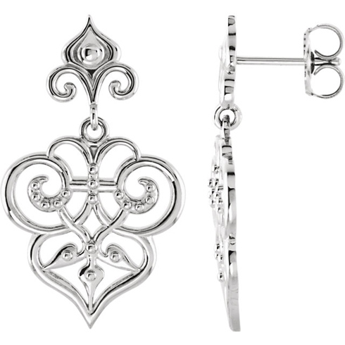 14kt White Gold 1in Deco Dangle Earrings