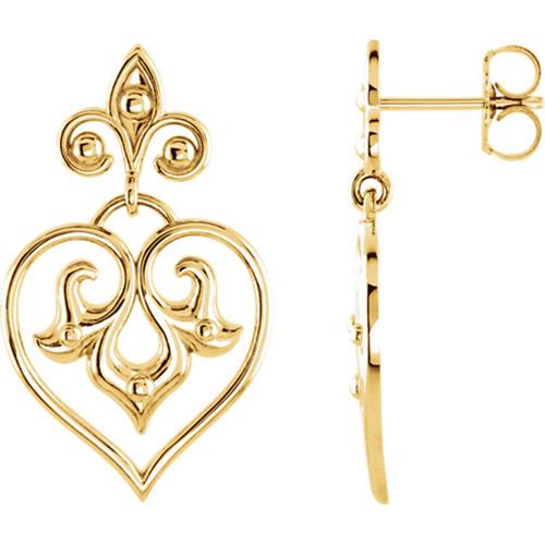 14kt Yellow Gold Deco Heart Dangle Earrings