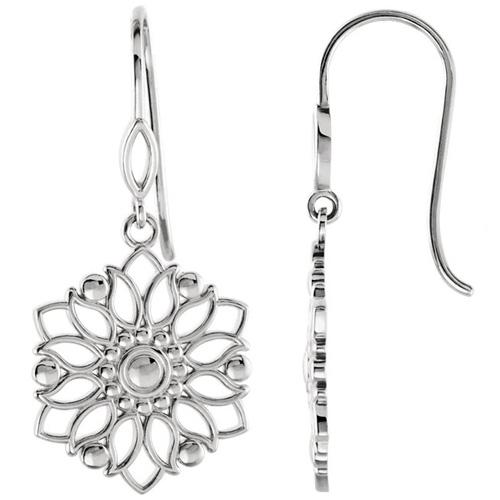 14kt White Gold 1/4in Flower Dangle Earrings