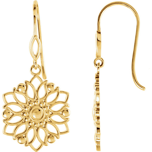 14kt Yellow Gold 1/4in Flower Dangle Earrings