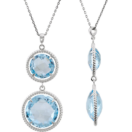 Sterling Silver Round Sky Blue Topaz Drop Necklace