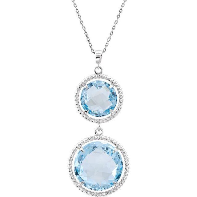 Sterling Silver Round Sky Blue Topaz Drop Necklace