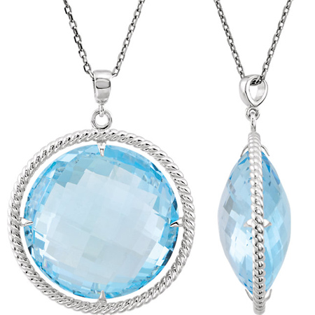 Sterling Silver Round Sky Blue Topaz Necklace